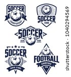 vector football emblems set.... | Shutterstock .eps vector #1040294569