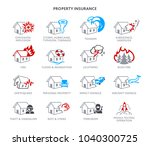 property insurance icons for... | Shutterstock .eps vector #1040300725
