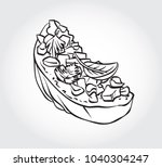 hand drawn black and white... | Shutterstock .eps vector #1040304247