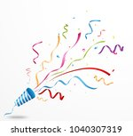 exploding party popper | Shutterstock .eps vector #1040307319