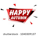 happy autumn  sign with red... | Shutterstock .eps vector #1040309137