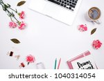 woman workspace with laptop ... | Shutterstock . vector #1040314054
