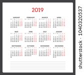 calendar for 2019 year. week... | Shutterstock .eps vector #1040320537