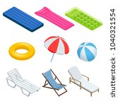 isometric icons set of beach... | Shutterstock . vector #1040321554