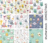 vector seamless patterns with... | Shutterstock .eps vector #1040327665