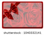 greeting card with red satin... | Shutterstock . vector #1040332141