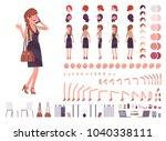 pretty female office employee... | Shutterstock .eps vector #1040338111
