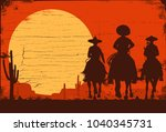 silhouette of three mexican... | Shutterstock .eps vector #1040345731