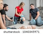 instructor showing how to safe... | Shutterstock . vector #1040345971