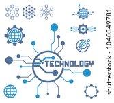 set of circuit tech elements....   Shutterstock .eps vector #1040349781