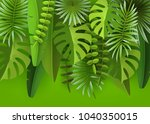 tropical leaves and plants.... | Shutterstock .eps vector #1040350015