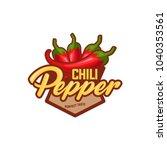 chilli pepper logo food label...   Shutterstock .eps vector #1040353561
