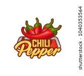 chilli pepper logo food label...   Shutterstock .eps vector #1040353564