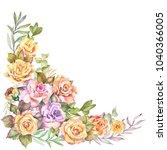 watercolor flower corner with... | Shutterstock . vector #1040366005