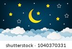 half moon  stars and clouds on... | Shutterstock .eps vector #1040370331