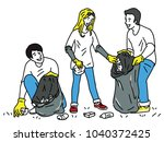 volunteers collecting garbage... | Shutterstock .eps vector #1040372425