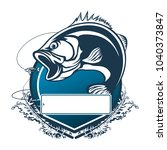 fishing bass logo. bass fish... | Shutterstock .eps vector #1040373847