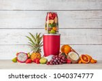 smoothie maker mixer with... | Shutterstock . vector #1040374777