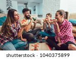 group of young friends eating... | Shutterstock . vector #1040375899