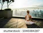 back view of slim female in... | Shutterstock . vector #1040384287