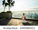 caucasian woman in active wear...   Shutterstock . vector #1040384311