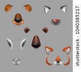 vector realistic animals faces... | Shutterstock .eps vector #1040385217