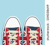 pair of shoes with union jack... | Shutterstock .eps vector #104038649