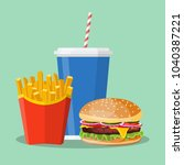 hamburger french fries and soda.... | Shutterstock . vector #1040387221