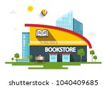 bookstore building with book...   Shutterstock .eps vector #1040409685