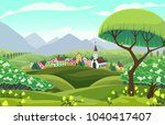 Vector Spring Landscape. Sight...