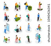 spring cleaning works isometric ... | Shutterstock .eps vector #1040426341