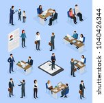 employment isometric icons set... | Shutterstock .eps vector #1040426344