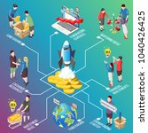 crowdfunding isometric... | Shutterstock .eps vector #1040426425
