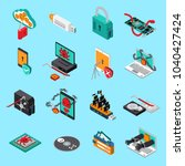 hardware protection icons set... | Shutterstock .eps vector #1040427424