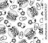 hand drawn seamless pattern of ...   Shutterstock . vector #1040429317
