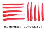 watercolor set of red brush... | Shutterstock . vector #1040431594