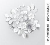 paper art flowers background....   Shutterstock .eps vector #1040436514