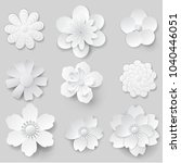 paper art flowers isolated. set ...