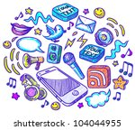 mobile phone and many details... | Shutterstock .eps vector #104044955