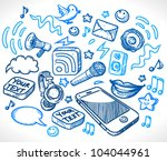 mobile phone and many details... | Shutterstock .eps vector #104044961