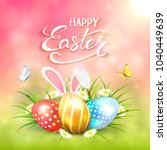 three colorful easter eggs with ... | Shutterstock . vector #1040449639