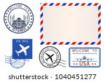 collection of postal elements.... | Shutterstock . vector #1040451277