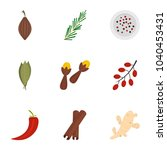 condiment icon set. flat set of ... | Shutterstock . vector #1040453431