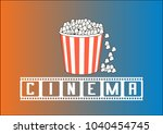 background cinema and popcorn  | Shutterstock . vector #1040454745