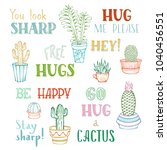 vector linear cacti and hand... | Shutterstock .eps vector #1040456551