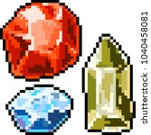 vector pixel art gemstone... | Shutterstock .eps vector #1040458081