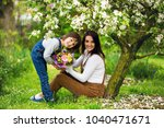 young pregnant woman  receiving ... | Shutterstock . vector #1040471671