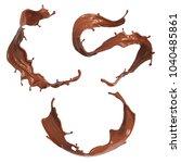 set of chocolate splash or... | Shutterstock . vector #1040485861