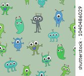 pattern with monsters on a... | Shutterstock .eps vector #1040486029