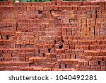large group of brick stack in... | Shutterstock . vector #1040492281